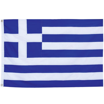 High quality Greek flag 75 x 110 cm, 150D polyester, all-swen stripes, Two
