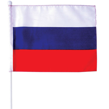 Hand flag, stitching borders, 45cm plastic pole & ball
