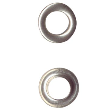Brass grommet, 1.5 cm diameter, white colour