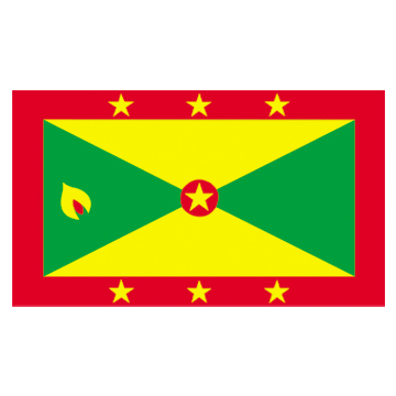 Grenada Flags      High-Quality 1-ply Car Window Flag With Clip Attachment