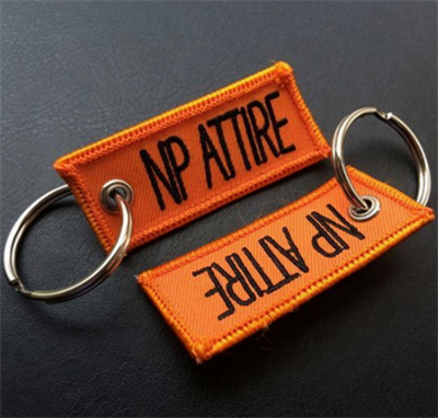 Custom Woven Embroidered Fabric Key Tag Label-Custom Woven