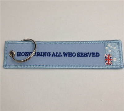 Flight Logo Name Embroidered Fabric Key Tag In Keychain