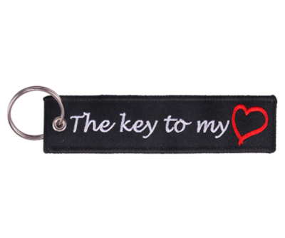 Customized Design Flight Embroidery Fabric Key Tag