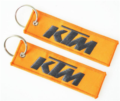 Cheap Custom Orange Woven Key Tags Embroidered Key Ring
