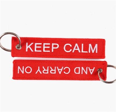 Remove Embroidered Woven Fabric Key Tag for Sport