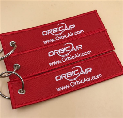 Logo Custom Embroidered Fabric Key Tag Wholesale