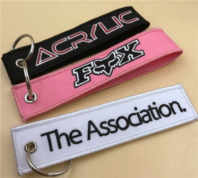 2018 Newest Custom Design Cool Style Fabric Keychain Embroidered Key Tag