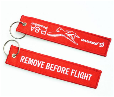 China Factory Direct Custom Flight Embroidery Keychain Woven Key Tag with Logo