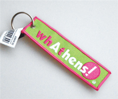 Personalized Embroidered Flight Key Tag Fabric Keychain with Keyring