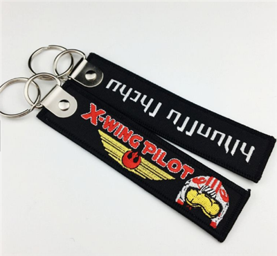 Wholesale Manufactures Private Brand Embroidery Name Logo Tag Fabric Key Chain Promotion Key Tag