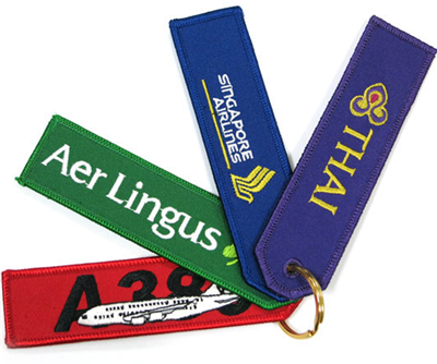 Fabric Material and Embroidery Keychain Type Embroidered Key Tag