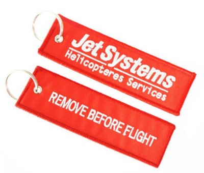 Airplane Promotion Custom Embroidered Logo Key Tag